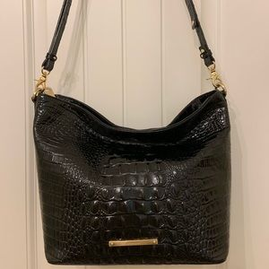 Brahmin Black Leather Hobo Handbag